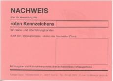 Kennzeichenbuch für rote Nummern