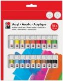 Acrylfarben-Set, 18 x 12 ml, farbig sortiert