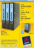 Ordner-Etiketten für schmale Ordner, kurz, blau, 192x38mm