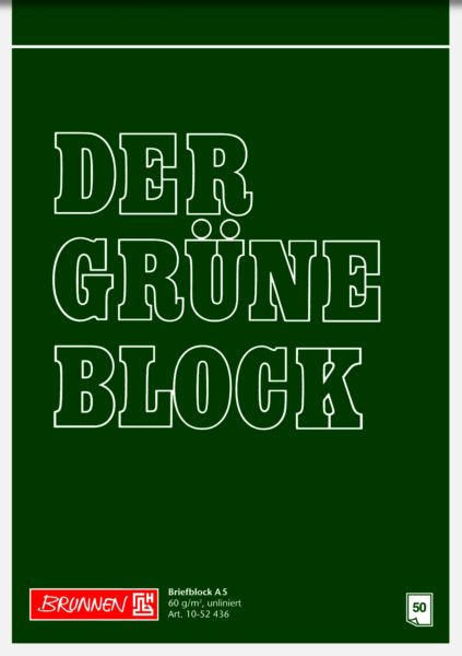 Briefblock A5 60g Grün unlin.