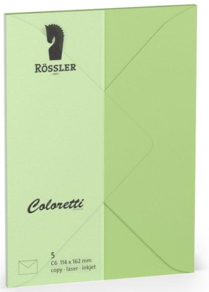 Coloretti-5er Pack Briefumschläge C6 80g/m², peppermint