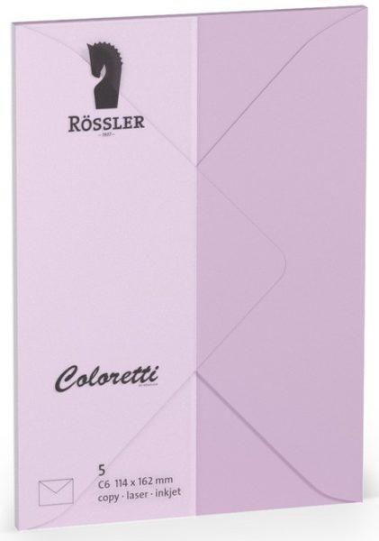 Coloretti-5er Pack Briefumschläge C6 80g/m², lavendel