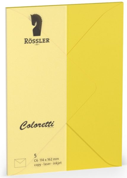 Coloretti-5er Pack Briefumschläge C6 80g/m² goldgelb