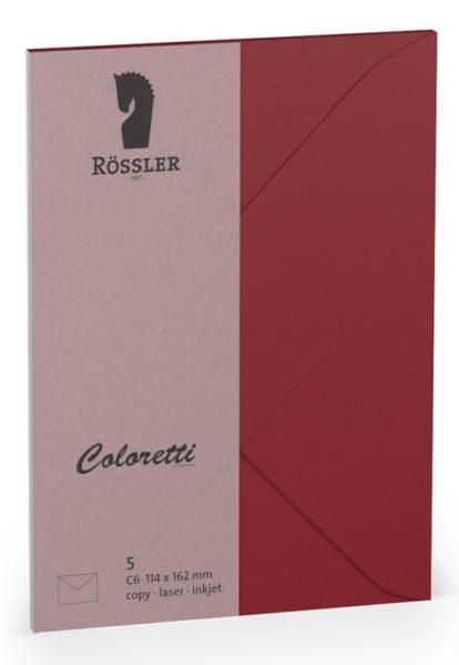 Coloretti-5er Pack Briefumschläge C6 80g/m², rosso