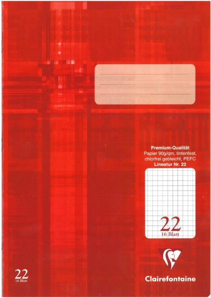 Schulheft Clairefontaine A4, 90g, Nr.22