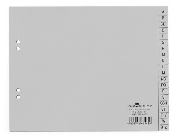 DURABLE Kunststoff-Register, A-Z, A4 halbe Höhe, 20-teilig grau