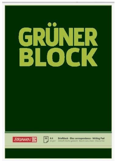 "Briefblock A4 60g unliniert  ""Der Grüne Block"""""""