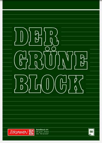 """Briefblock A4 60g liniert """"Der Grüne Block"""""""""""""""