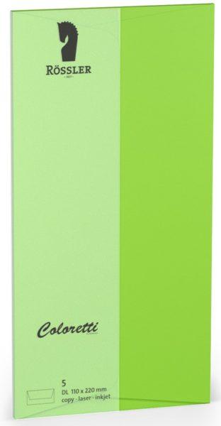 Coloretti-5er Pack Briefumschläge DL 80g/m²,hellgrün