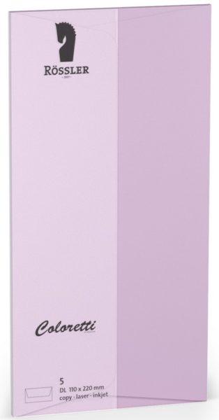 Coloretti-5er Pack Briefumschläge DL 80g/m², ohne Sdf. lavendel