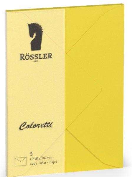 Coloretti-5er Pack Briefumschläge C7 80g/m², goldgelb