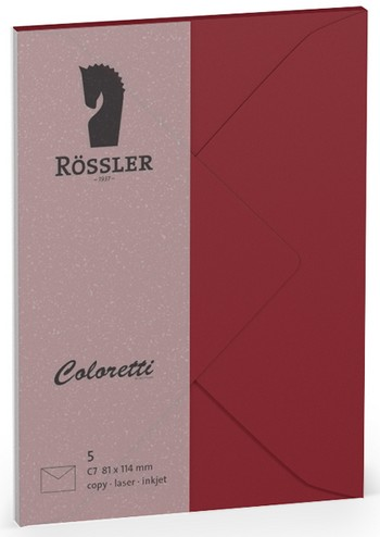 Coloretti-5er Pack Briefumschläge C7 80g/m², rosso