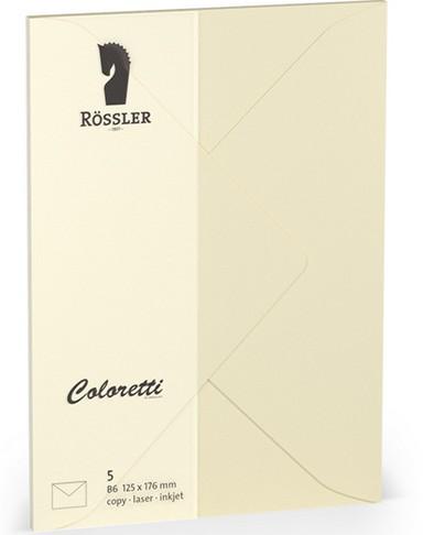Coloretti-5er Pack Briefumschläge B6 80g/m², creme