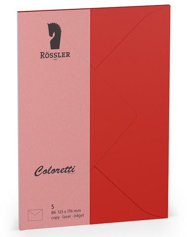Coloretti-5er Pack Briefumschläge B6 80g/m², klatschmohn